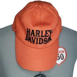 Harley Davidson embellished orange logo hat